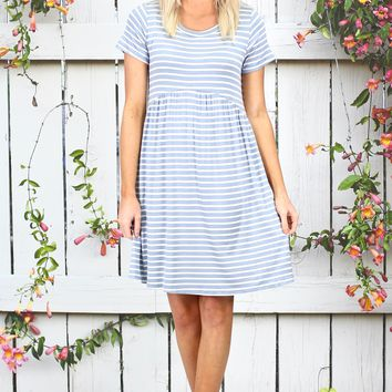 Classic Stripes Babydoll Dress {Chambray}