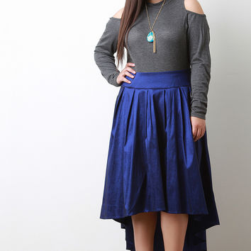 High-Low Pleated Taffeta Midi Skirt