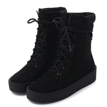 Black Faux Suede Lace Up Ankle Boots