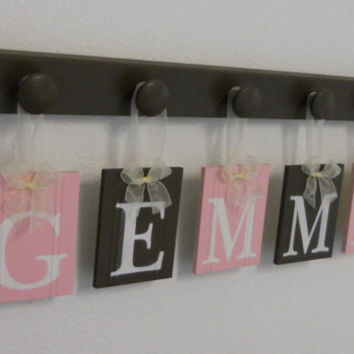 Kids Alphabet Letters Wooden. Set Includes 5 Hooks and Babies Name GEMMA - Light Pink and Brown. Baby Girls Room Wall Decor