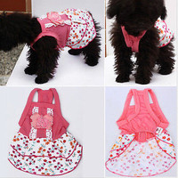 Pet Dog Puppy Lace Floral Flower Skirt Dress Crystal Bowknot Princess Clothes