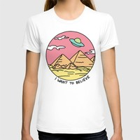 Ancient Aliens Pyramids Funny UFO Eyptian 90s Print T-shirt by BigKidult | Society6