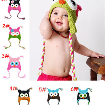 Cute Infant Toddler Handmade Knitted Crochet Baby Hat Owl Hat Cap With Ear Flap Animal Style For Girl Boy Gift 0-12 Months