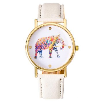 NEW Fashion Hippie Elephant watch Woman Golden Women wristwatch Vintage PU leather casual dress watch Geneva Style Drop shipping