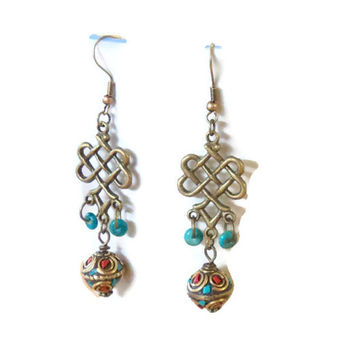 Earrings Antique Bronze Celtic Knots with Brass Beads with Turquoise and Coral