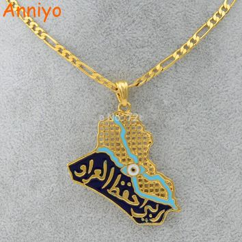 Anniyo Iraq Map Pendant Necklaces for Women/Men,Muslim Iraqi Jewelry Allah Necklace/Blue Eye Gold Color Islam #004801