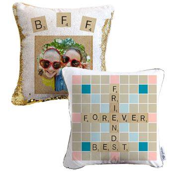 Best Friend Forever Scrabble Personalized Photo Sequin Pillow