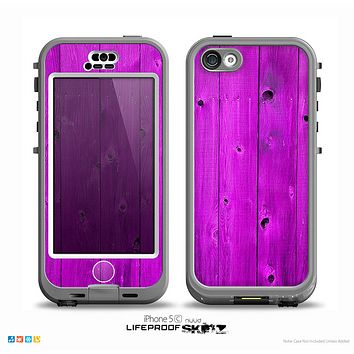 The Purple Highlighted Wooden Planks Skin for the iPhone 5c nüüd LifeProof Case