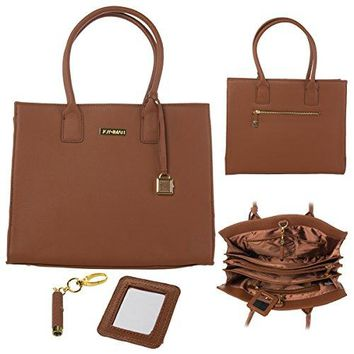 Joy & Iman Genuine Leather Hollywood Glamour Handbag Satchel Large Tote Purse