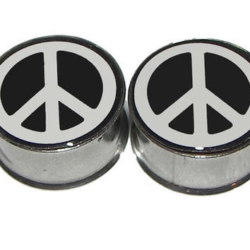 "Peace Sign Plugs - 1 Pair - Sizes 2g, 0g, 00g, 7/16"", 1/2"", 9/16"", 5/8"", 3/4"", 7/8"" & 1"""