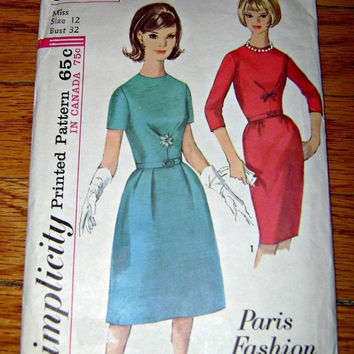 60s Simplicity Dress Pattern, Jackie O Style Dress Pattern, Vintage Sewing Pattern, Classic Paris Vintage Fashion, Misses Junior Teen Prom