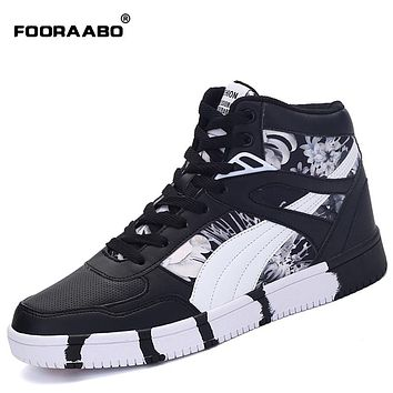 Fooraabo 2017 New Printing Mens Casual Flats Shoes Autumn Luxury Unisex Hip Hop Male High Top Sneakers PU Leather Shoes Man