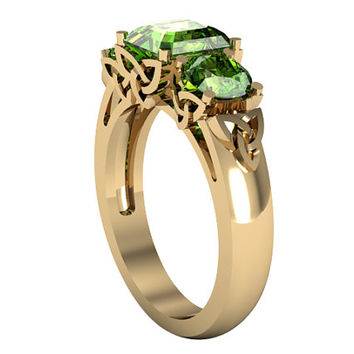 14k Yellow Gold Peridot Ring, Celtic Knot Setting Design, Solitaire Ring, Custom Gold Ring, Wedding Ring, Proposal Ring, Anniversary