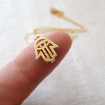 Tiny Gold plated hamsa hand necklace...dainty and simple