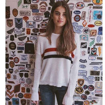 Simple Fashion Casual Crochet Round Neck Long Sleeve Tops