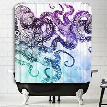 "Kraken Octopus Print Polyester High Quality Digital Print Fabric Art Painting Nautical Design Home Decor Bathroom Accessories Watercolor Shower Curtain (60"" x 72"")"
