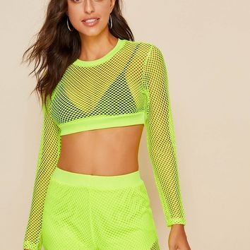 Neon Yellow Fishnet Crop Top With Shorts