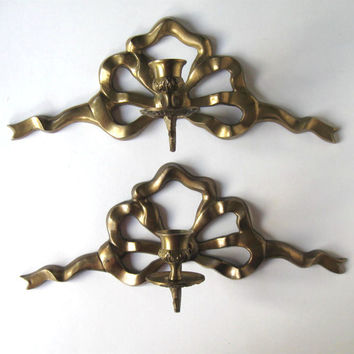 Vintage Brass Ribbon Bow Sconces, Pair of Candle Holders, Home and Living, home decor, wall hanging, gift idea