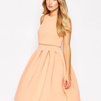 ASOS Debutante Crop Top Midi Scuba Dress