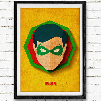 Robin Watercolor Art Print Batman Poster, DC Comics Superhero, Nursery Room Wall Art, Home Decor, Not Framed, Buy 2 Get 1 Free