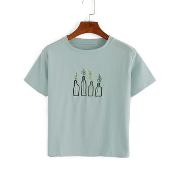 Green Plant Embroidered T-Shirt