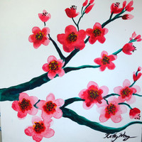 Pink Cherry Blossom Original Watercolor Painting