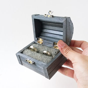 INTRO PRICE Gunmetal Treasure Chest Ring Box - Rustic Ring Bearer Box - Treasure Chest Ring Box - Wooden Ring Box - Wedding Ring Box