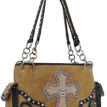 Cross Leather Designer Fashion Bling Western Stitch Rhinestone Stud Trendy Purse Handbag Brown Black