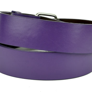 Plain Purple Genuine Leather Belt DIY Gothic Deathrock Clothing