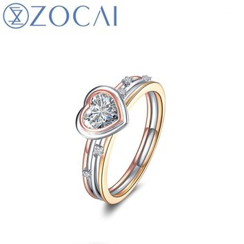 ZOCAI Engagement Ring Real 0.3 CT Certified F-G/SI Heart Shape Cut Diamond 18K Three Color Gold (AU750) JBW01001
