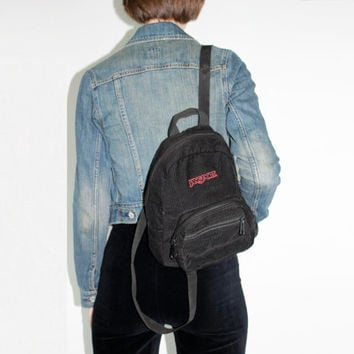 90s Jansport Backpack Black Corduroy Small Bag mini back pack festival pack small handbag 1990s backpack school bag