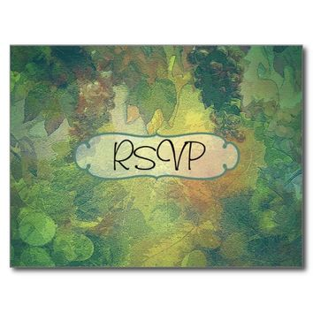 Autumn Fall Vintage Wedding Invite RSVP with photo Postcard