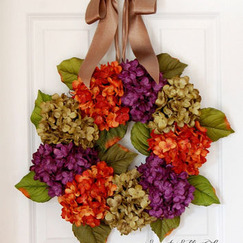 Hydrangea Wreath for Front Door, Fall Wreath, Thanksgiving, Orange, Purple, Green, Silk Hydrangea Wreath, Handmade Wreath