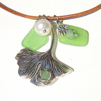 Ginkgo Leaf Sea glass necklace Sea glass jewelry Leather necklace Pearl Necklace Seaglass jewelry Beach jewelry Genuine sea glass necklace
