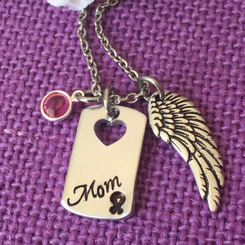 Memorial Jewelry Necklace - Remembrance Necklace - Cancer Awareness - Cancer Loss - In Memory - Loved one - Mom - Dad - Grammy - Hand stamp