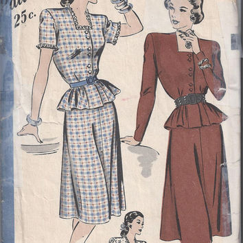 Hollywood 1864 Pattern for Misses 2-Piece Dress, Circa 1940s, Size Unknown