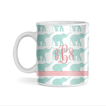 Elephants Pattern Monogram 11oz Coffee Mug