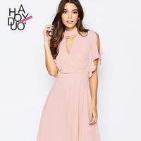 Haoduoyi Womens Pink Off shoulder V neck Hollow out Midi Dress Pleated Sexy Chiffon Dresses