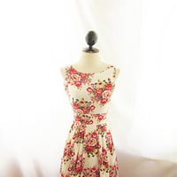 Rockabilly Marilyn Monroe Great Gatsby Shift Flare Skater Dress Audrey Hepburn Elven Romantic Country Woodland Red Pink Peonies Faerie Dress