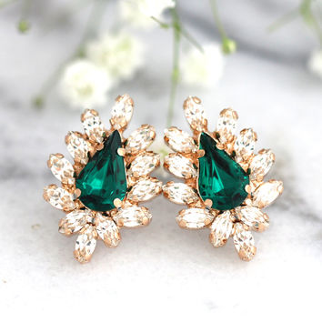 Emerlad Earrings Bridal Emerlad Earrings, Emeralds Swarovski Stud Earrings, Bridesmaids Earrings , Emerlad Bridal Jewelry, Gift For Her