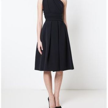 PREEN | Athena Black Asymmetric Dress | brownsfashion.com | The Finest Edit of Luxury Fashion | Clothes, Shoes, Bags and Accessories for Men & Women