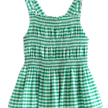 'Trina' Green Gingham Ruched Peplum Top