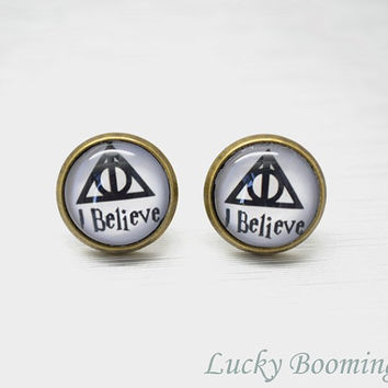 Harry Potter Deathly Hallows Stud Earrings,geometric figure and I believe glass resin pendant cuff earrings E8