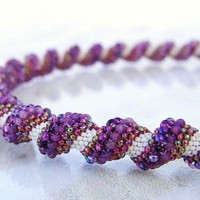 Beaded  peyote spiral necklace  lilac cream cherry by Vikulya