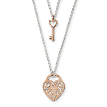 Sterling Silver & Rose-tone Heart Lock & Key 16in Necklace QG4350
