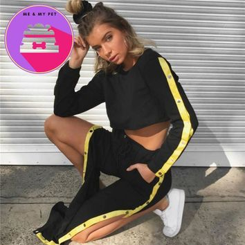 Jo Kalin 2018 New Fashion 2 Piece Clothing Set Women Black Crop Top And Side Split Pants Suit ladies Sexy Two Piece Tracksuit