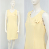 Vintage 90s Does 60s Mod Light Yellow Shift Dress, Sleeveless Dress, Short Summer Dress, Knee Length Casual Dress
