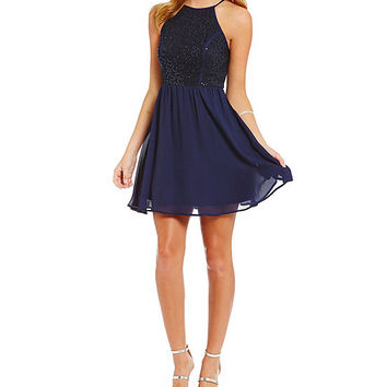 As U Wish Sequin Lace Bodice A-Line Dress | Dillards