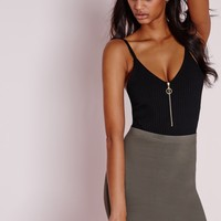 Missguided - Ribbed Ring Pull Detail Bodysuit Black