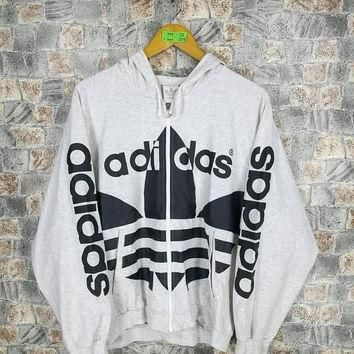 ADIDAS RUN DMC Sweatshirt Medium Vintage 90's Adidas Trefoil Big Logo Gray Hip Hop Adi